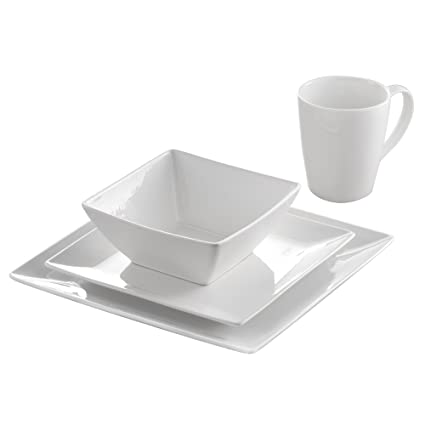 Roscher 32-Piece Pure Square Porcelain Dinnerware For Contemporary Dining  sc 1 st  Amazon.com & Amazon.com | Roscher 32-Piece Pure Square Porcelain Dinnerware For ...