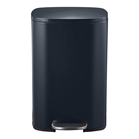 Mari Home Contenedor de Reciclaje | Cubo Basura 50L con Tapa Plana | para Dormitorio, Baño, Cocina, Jardín | Pedal y Cubo Interno | Negro