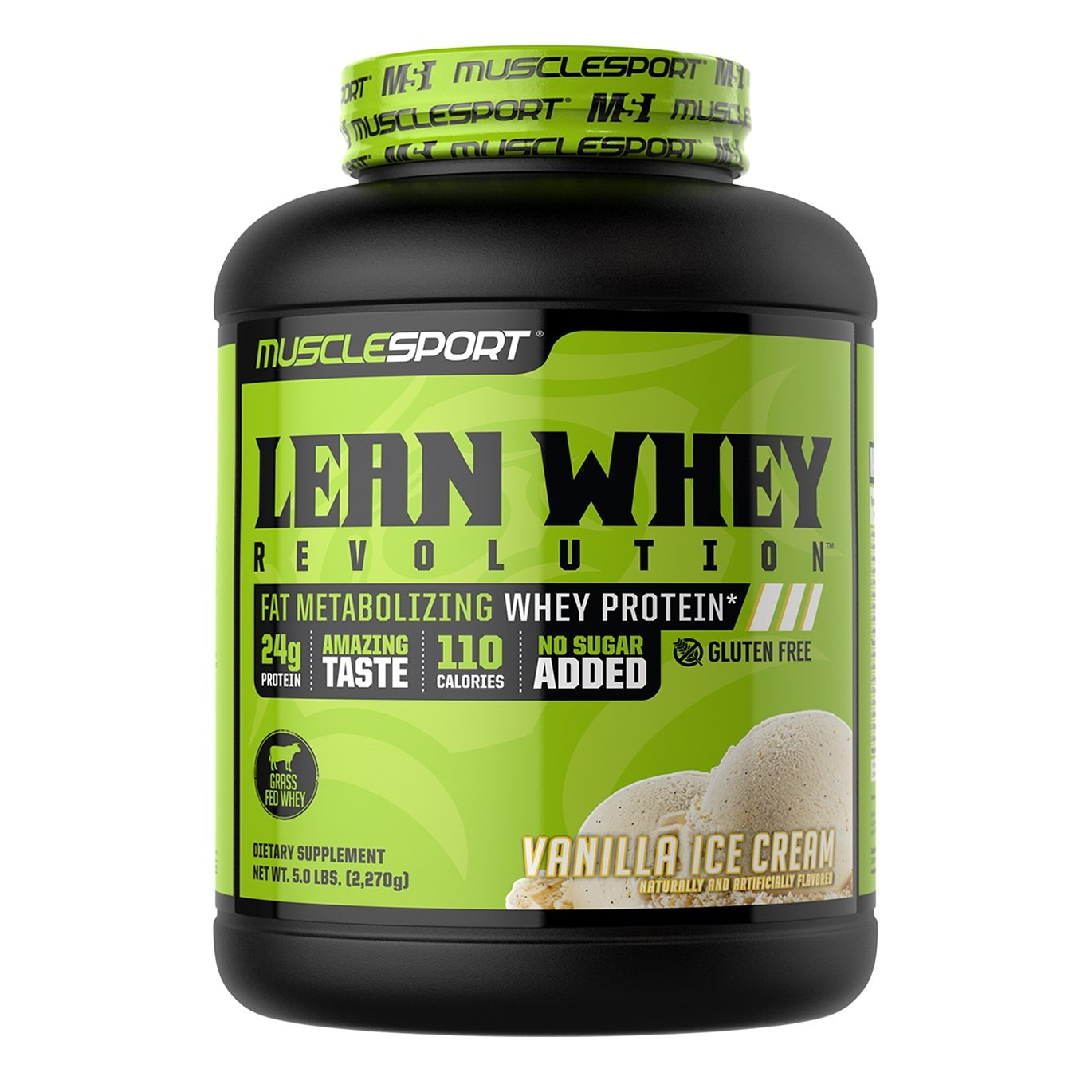 MuscleSport Lean Whey Revolution (Vanilla Ice Cream, 5lb) Protein Powder, Whey Protein Isolate, Fat Burning, Weight Loss, Low Calorie, Low Carb, Low Fat, Incredible Flavors by Musclesport