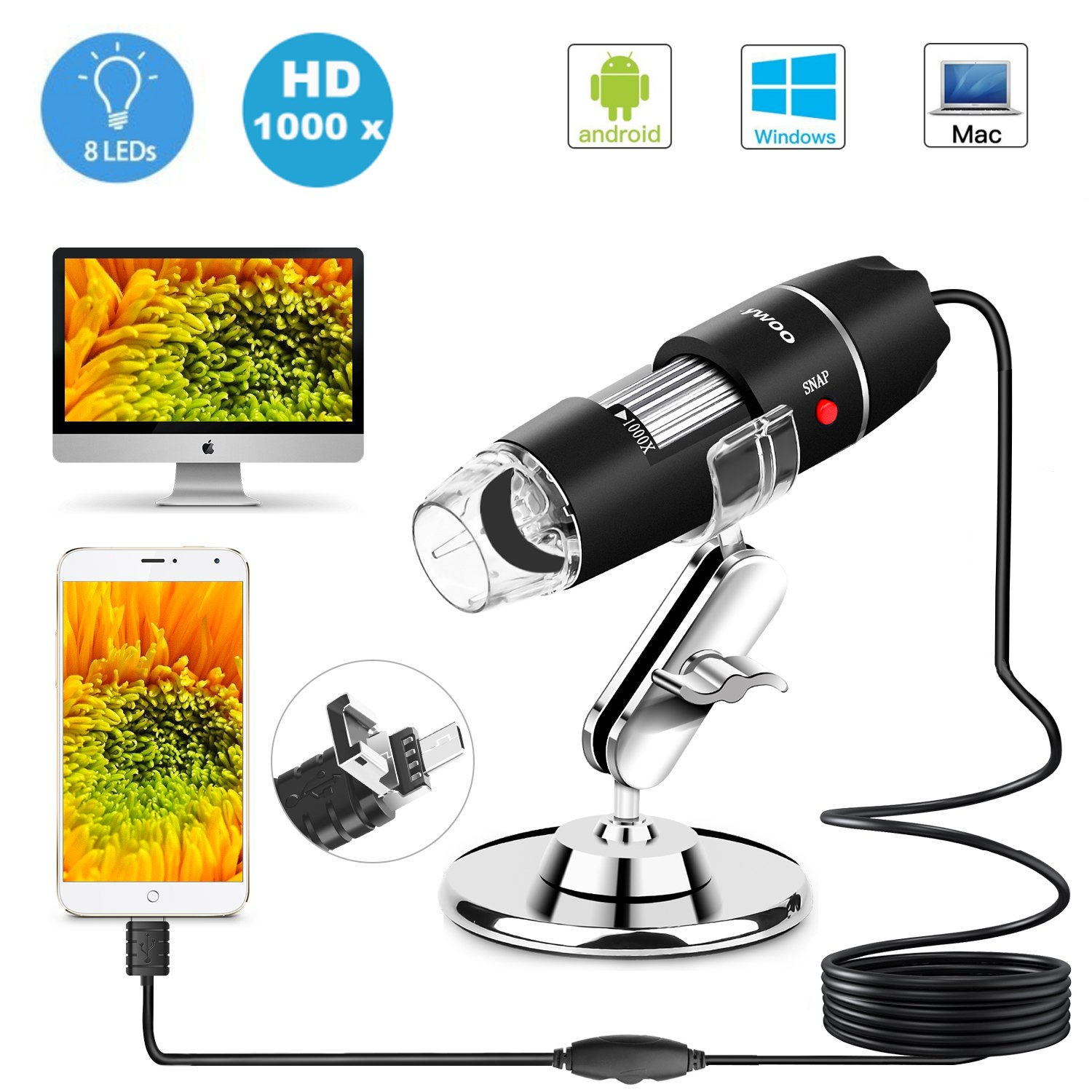 USB Microscope 8 LED USB 2.0 Digital Microscope 40 to 1000x Magnification Endoscope Mini Camera with OTG Adapter and Metal Stand Compatible with Mac Window 7 8 10 Android Linux by Sunnywoo Black 1