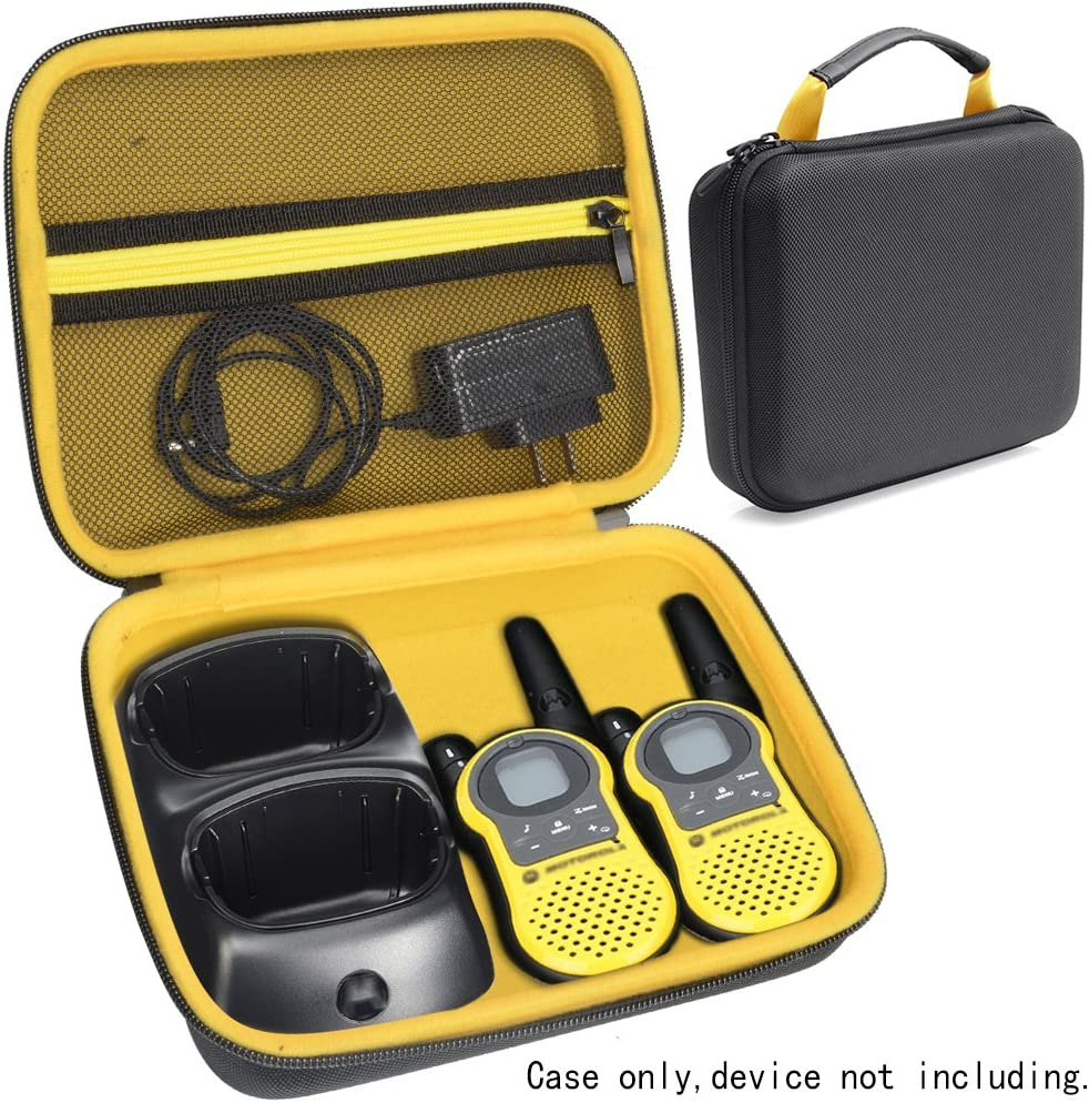Two Way Radio Speaker Case for Walkie Talkie Like Motorola, Sokos, Uniden, FLOUREON, Midland, Dimy, Galwad, Aikmi, BETECH and Others, mesh Pocket for Cable and Accessories, Featured Carrying Handle