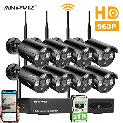 Kit de Cámaras Seguridad, Video Kit de vigilancia WiFi Anpviz 8CH 960P HD NVR,