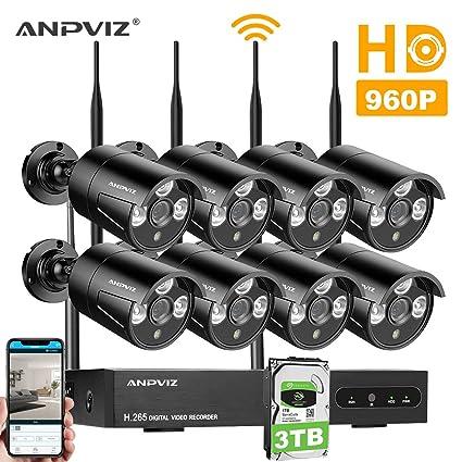 Kit de Cámaras Seguridad, Video Kit de vigilancia WiFi Anpviz 8CH 960P HD NVR,
