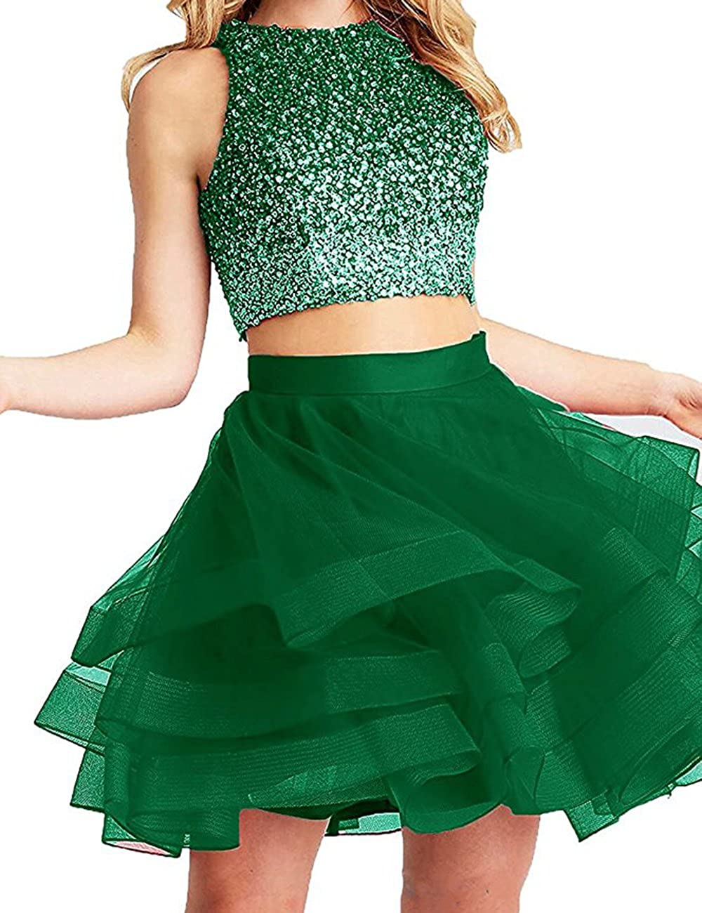 Dark Green Beautydress Two Pieces Short Prom Gowns Top Beaded Girls Homecoming Dress