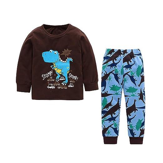 Amazon Com Baby Boys Dinosaur Clothes Long Sleeve Brown Long Pants