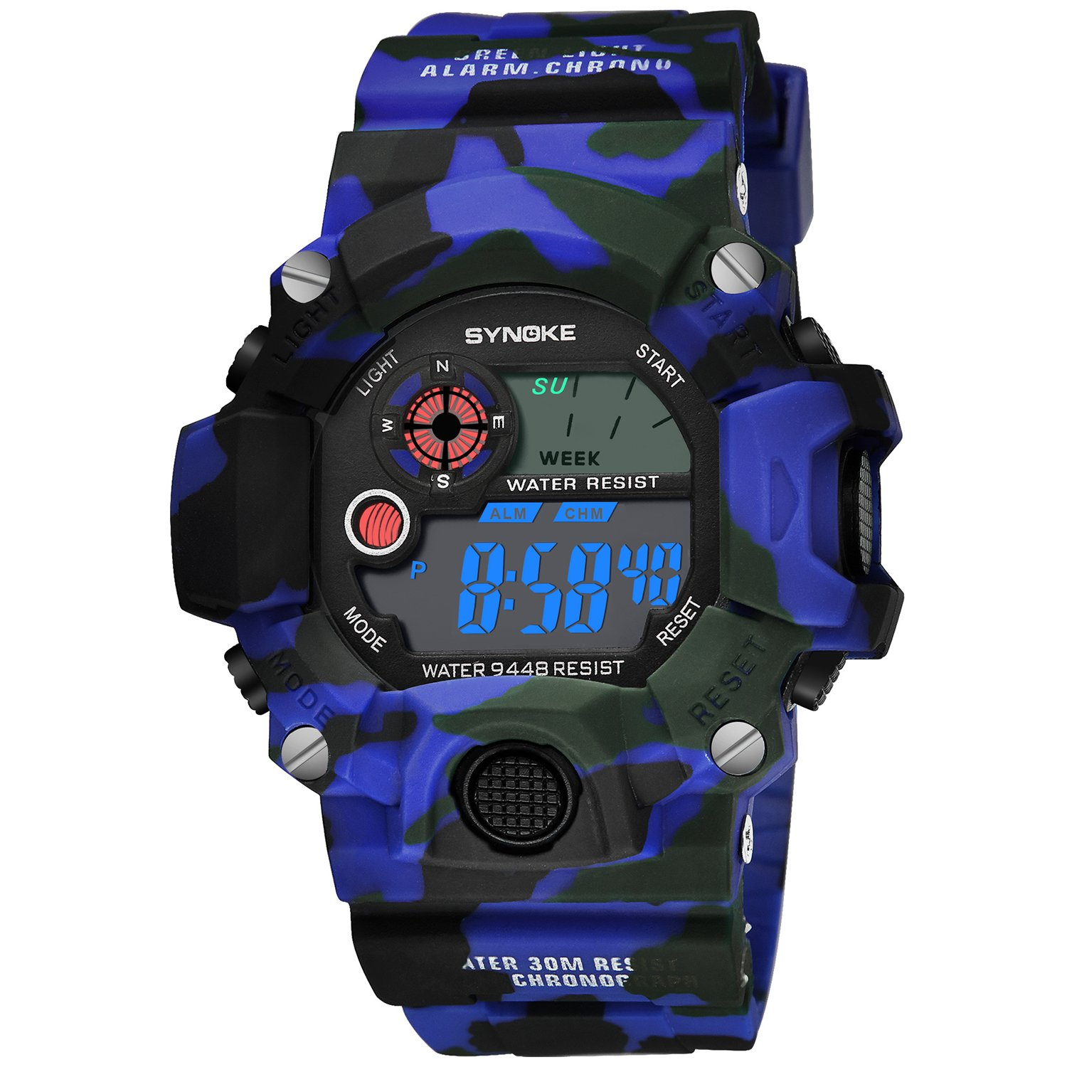 Analog Digital Wrist Watch Quartz Military Wristwatches for Men Luminescent Blue