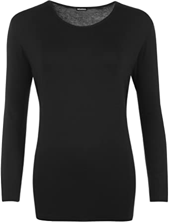 WearAll Ladies Long Sleeve T-Shirt Top Womens Plus Sizes  Amazon.co ... 778f1bf1e0ef