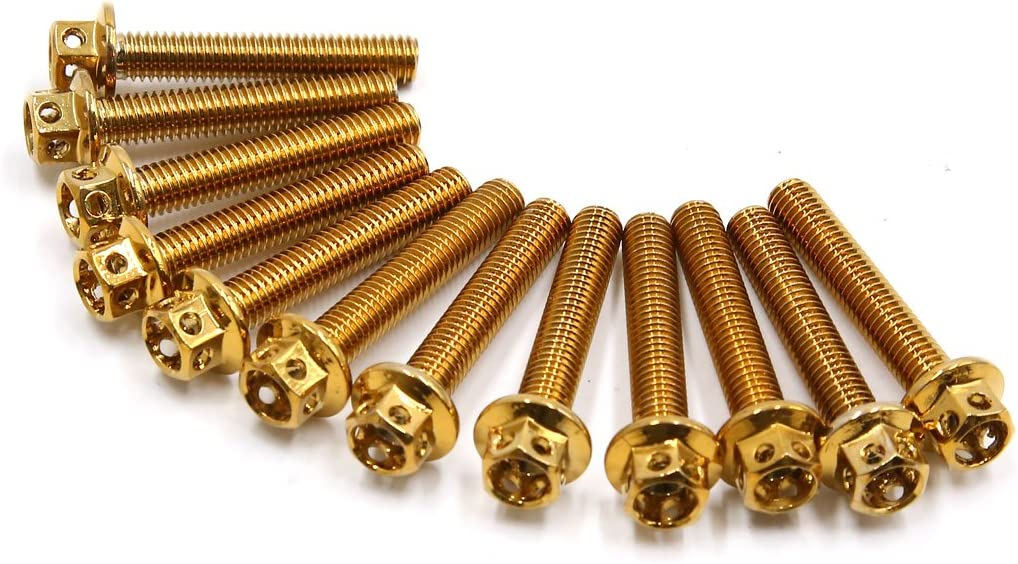 uxcell 12Pcs Gold Tone Titanium Alloy Motorcycle Bolts Screws Fastener M6 X 35mm