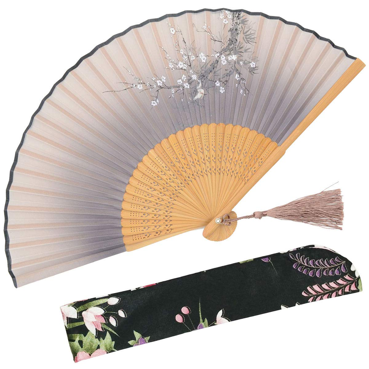 for Wedding Gray Dancing OMyTea Sakura Love Chinese//Japanese Folding Hand Held Fan for Women Church With a Fabric Sleeve for Protection Gifts Party