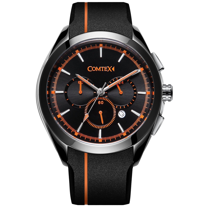 COMTEX Men' s Quartz Watch Sports Resistant Waterproof Band Watch