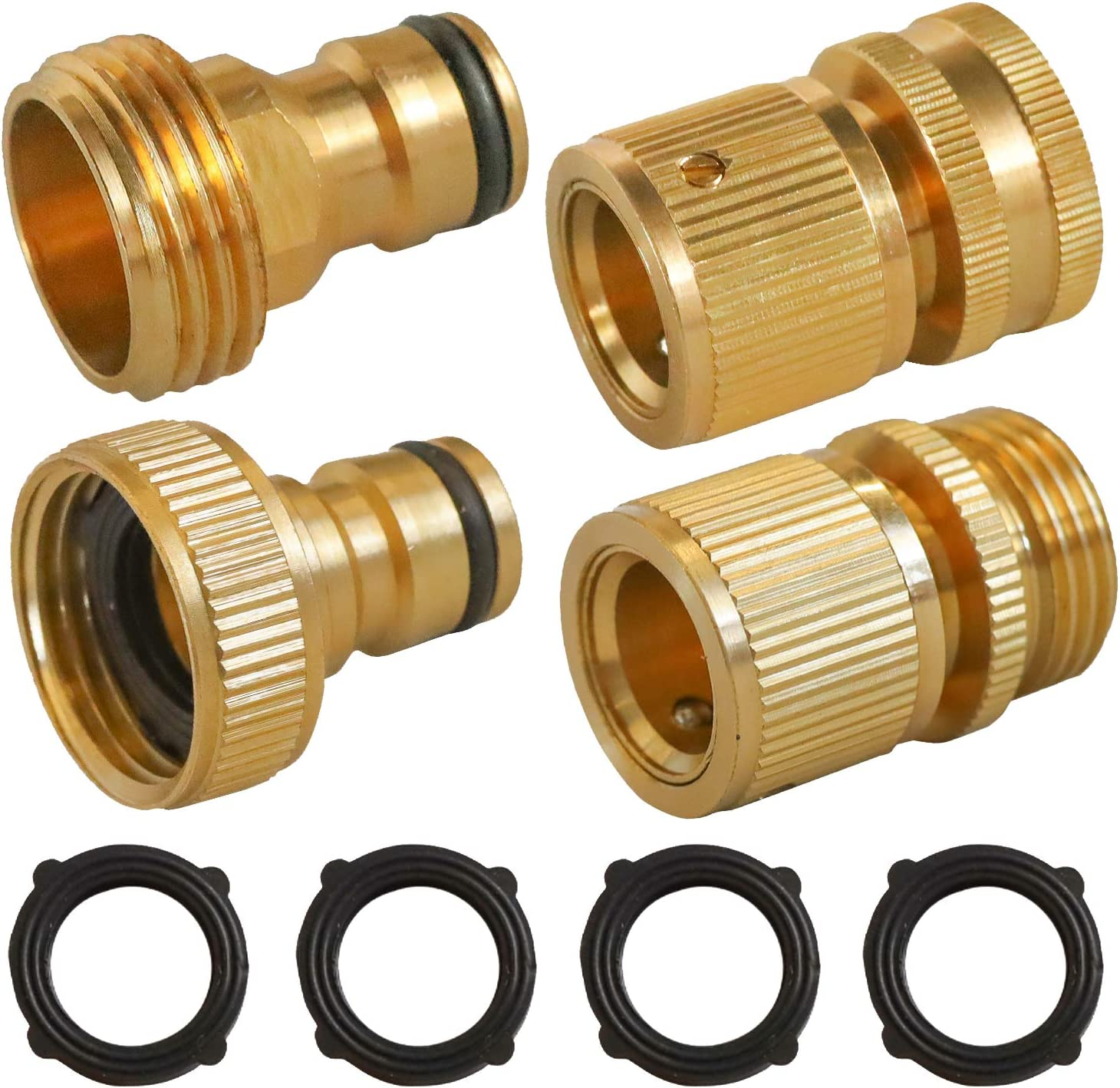 Hourleey Garden Hose Quick Connect, 3/4 Inch Solid Brass Female and Male Connectors to Brass Female and Male Nipples Garden Hose Fitting Water Hose Connectors