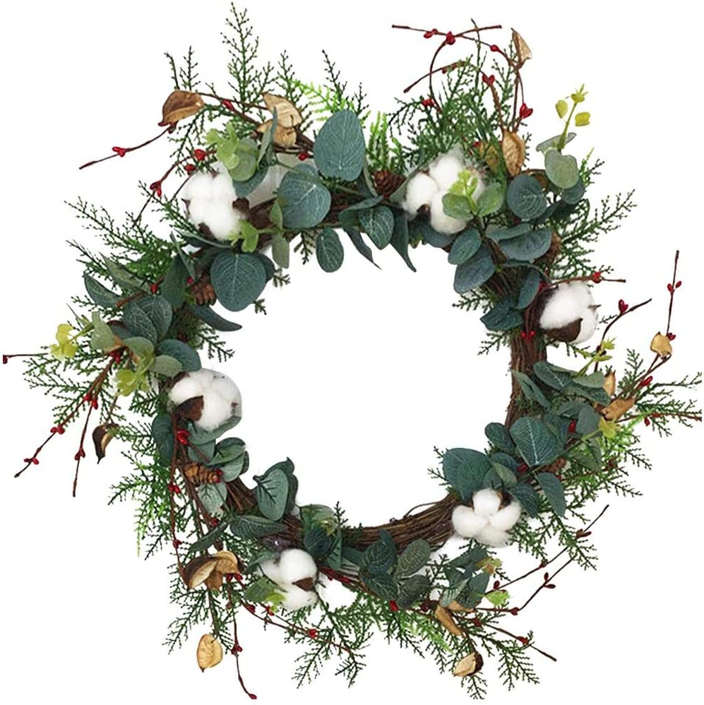 SHIYUE Artificial Eucalyptus Wreath, 20inch Large Green Leaf Wreath, Lifelike Vintage Cotton Door Hanging Garland for Wedding Party Christmas Decoration