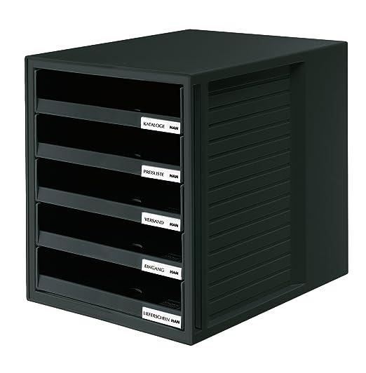HAN 1401-11 - Cajonera organizadora con 5 cajones abiertos para C4 y PS, 275 x 320 x 330 mm, color gris: Amazon.es: Oficina y papelería
