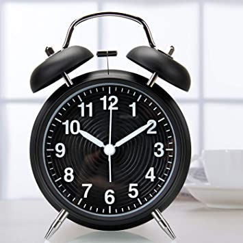 Reloj Despertador de Doble Campana, Orlegol Vintage Despertador Analógico de Cuarzo con Luz Nocturna y