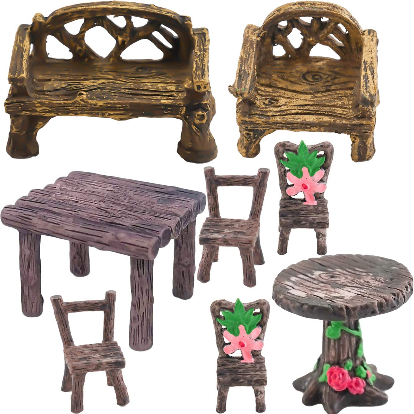 LeonBach 8 Pcs Miniature Tables and Chairs, Fairy Garden Accessories Miniature Garden Bench Decorations Fairy House Furnitures Set