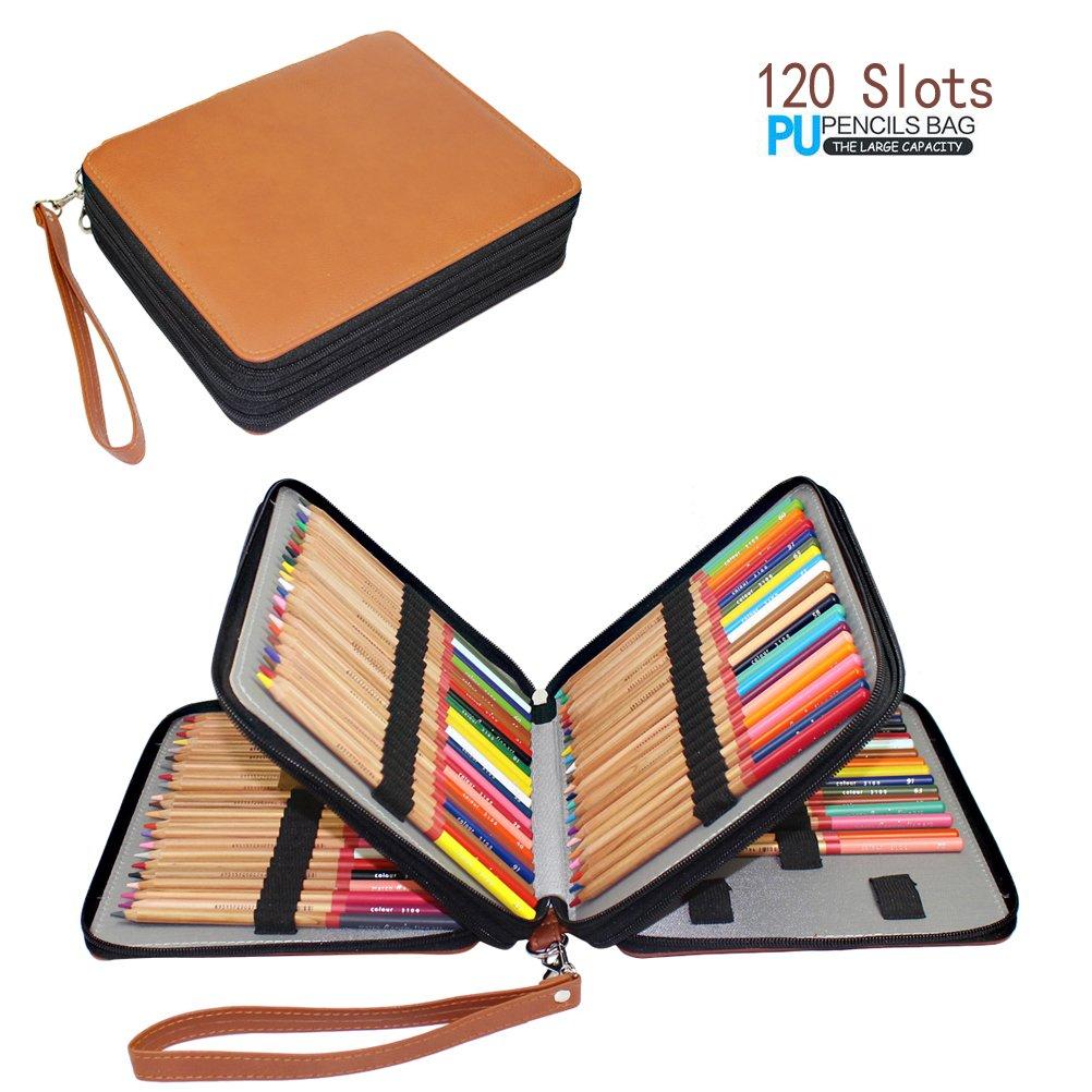 Yimoji 120slot di matita multistrato PU portamatite per Artist Pen bag Pouch Stationary Brown
