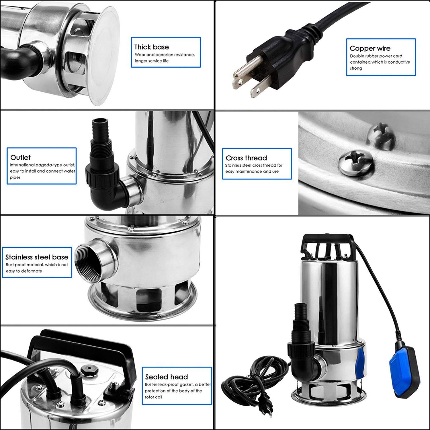 Homdox Submersible Water Pump 1.5 HP 1100W Garden Stainless Steel Sump Pump Pool Pump with Float Switch and 15ft Cable by Homdox (Image #5)