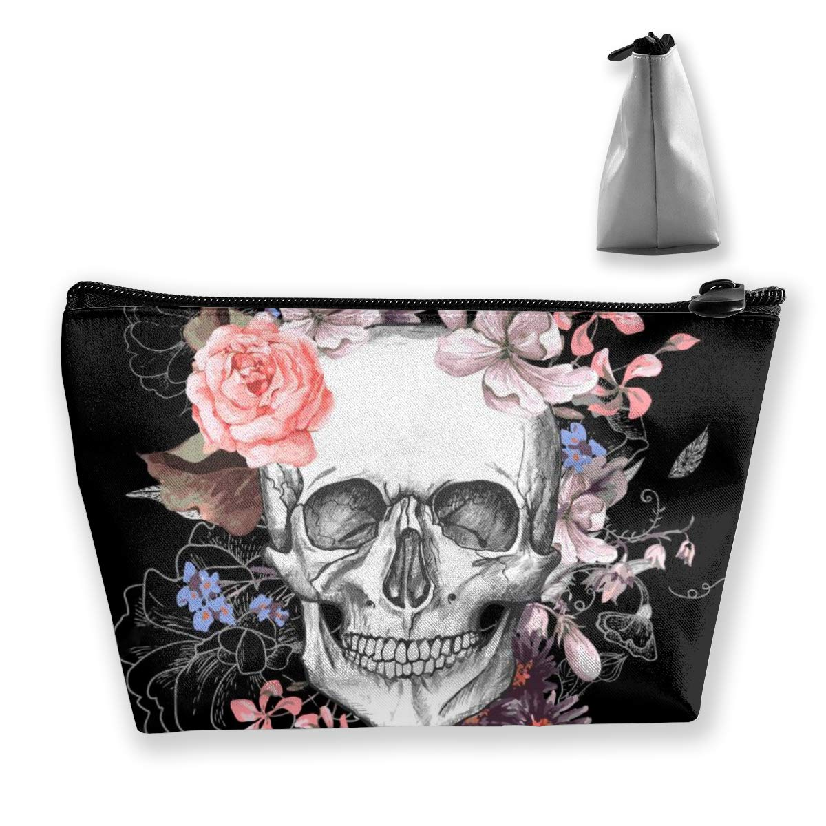 Skull And Flowers Day of The Dead Cosmetic Bag Portable Travel Makeup Toiletry Pouch Brush Accessories Organizer Storage Hand-held Coin Purse Pencil Cases with Zipper for Men Women