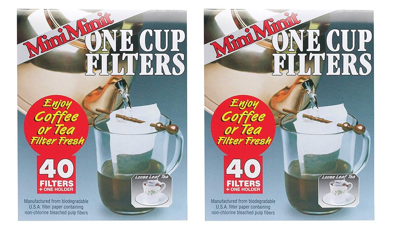 Set of 2 Mini Minit Coffee Filter, Number 1-Size, 1-Cup Capacity, 40 Filters and 1 Holder bundled by Maven Gifts