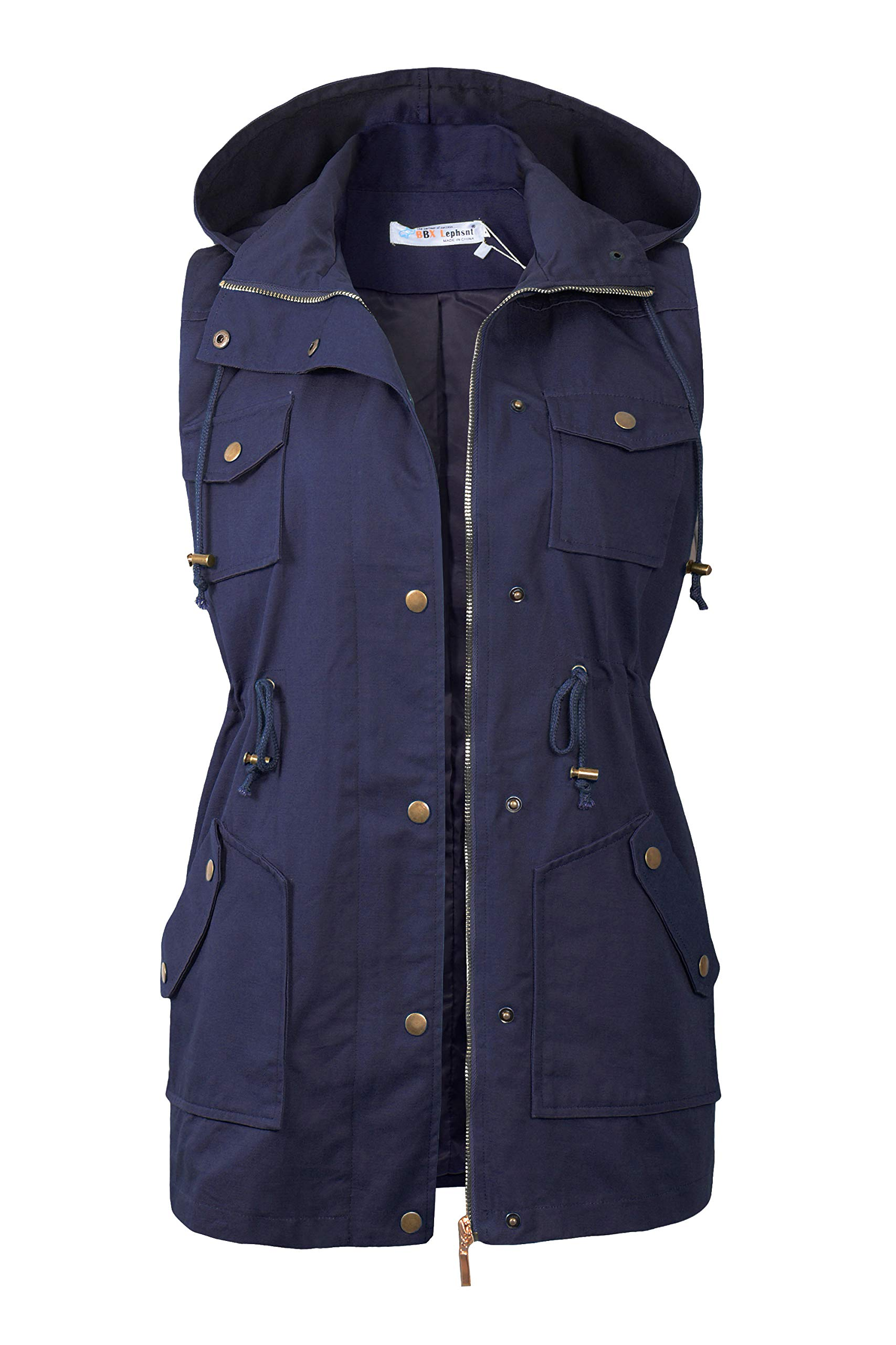 BBX Lephsnt Womens Sleeveless Military Anorak Drawstring Jacket Vest Navy Blue by BBX Lephsnt