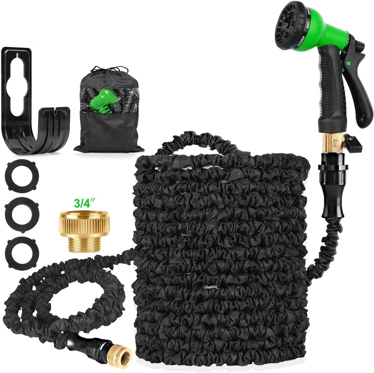 Suplong 100 FT Expandable Garden Water Hose Pipe, Magic Expanding Flexible Hose with 8 Function Spray Gun Nozzle Fittings Valve Wall Holder/Storage Bag for Lawn/Pet/Car/Boat Wash (1.5)