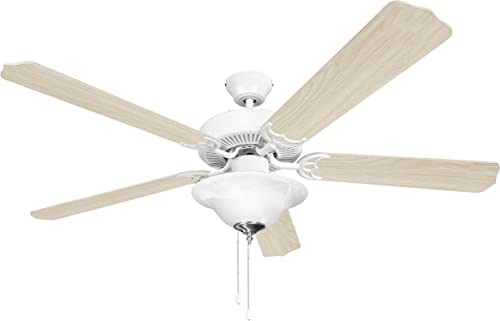 Hyperikon 52 Inch Ceiling Fan, 60W, Remote Control and Pull Chain, White Body, 5 Blades, Frosted Dome Light E12 Screwbase, Birch