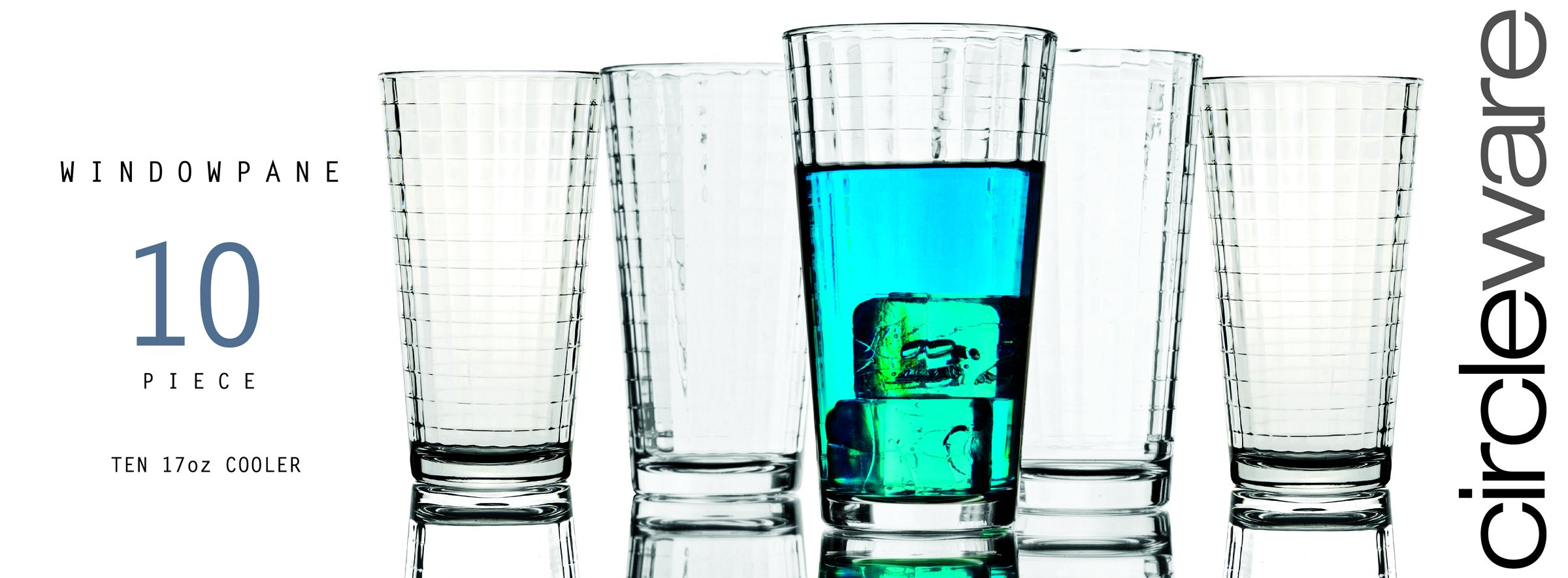 Circleware Windowpane Huge Set of 10 Tall Heavy Base Highball Drinking Glasses, 15.75 oz Lead Free Dishwasher Safe Glassware Glass Tumbler Drink Cups for Water, Juice, Beer, Wine and Cocktail Beverage