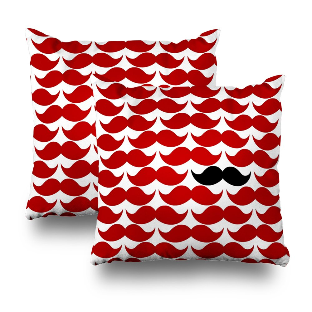 ONELZ Retro Funky Mustache Red Square Decorative Throw Pillow Case, Fashion Style Zippered Cushion Pillow Cover (18X18 inch,Set of 2)