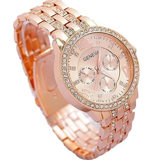 Contever Geneva Reloj de Cuarzo para Hombre Reloj de Pulsera de Moda AnalóGico Diseño (Color Rosa Dorada): Amazon.es: Relojes
