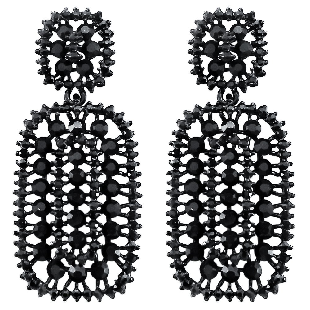 DMI Sparkling Jewelry Vintage Style Rhinestone Hollow Out Drop Dangling Earrings for Proms Wedding Black