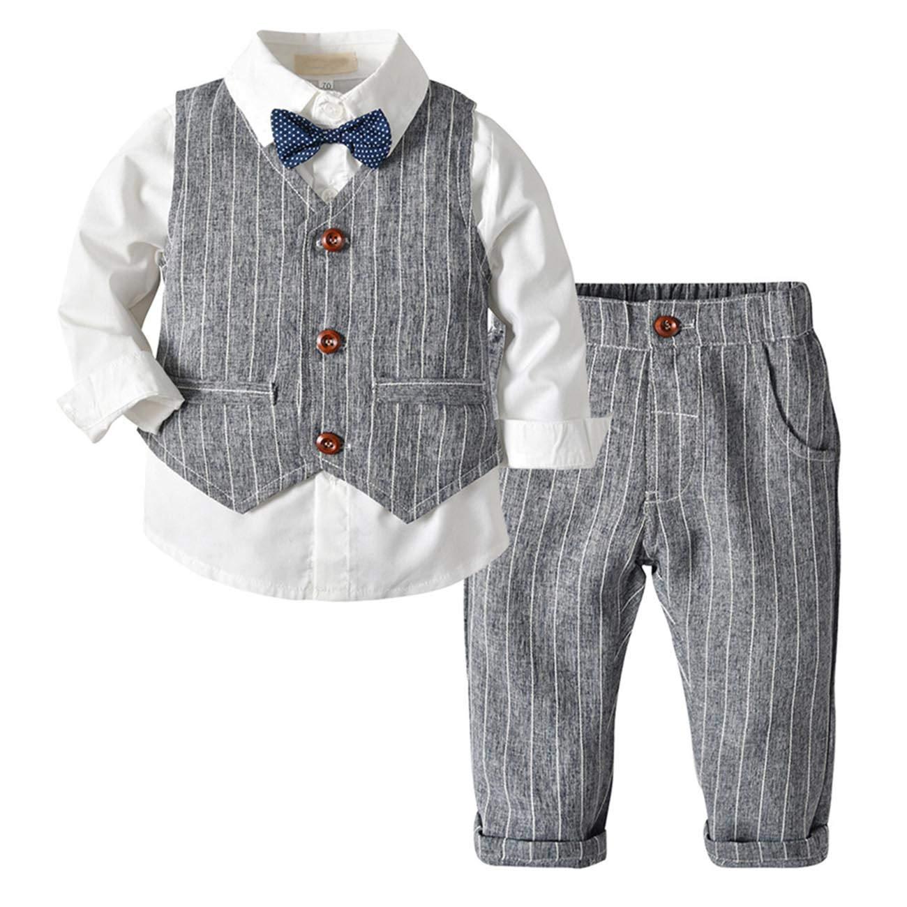 ec3aba055 XINXINHAIHE Little Kid Boy Formal Cotton Set 3pcs Long Sleeve Shirt+Vest+ Pants: Amazon.ca: Clothing & Accessories