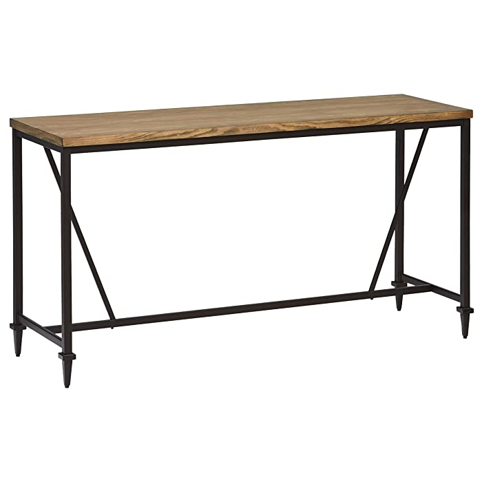 "Stone & Beam Ariana Rustic Metal Counter Height Table, 68""W, Brown"