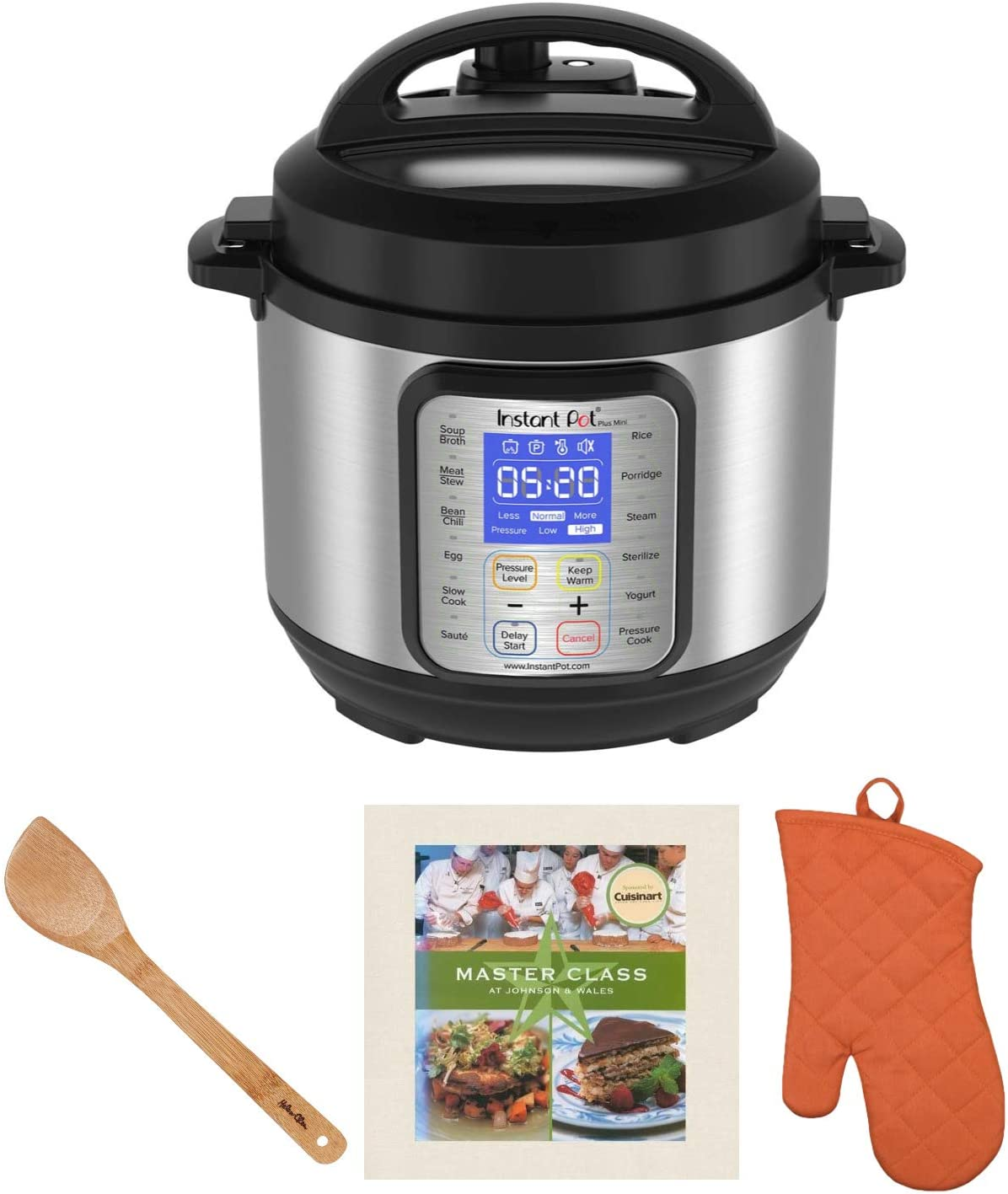 Instant Pot Duo Plus Mini 3-Quart, 9-in-1 Programmable Multi-Cooker Bundle with Spatula, Mitt and Cookbook Bundle (4 Items)
