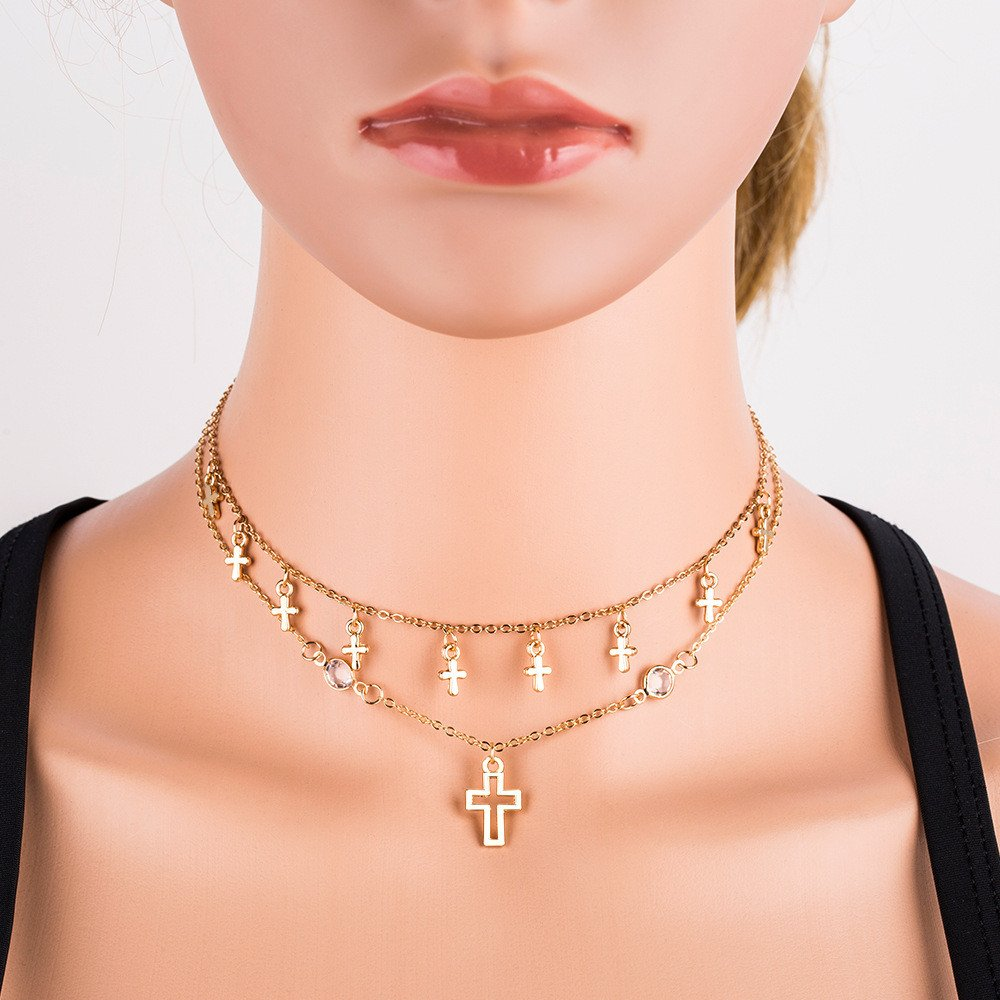 JG.Betty Gold Layered Circle Neckalce Chain Choker for Women