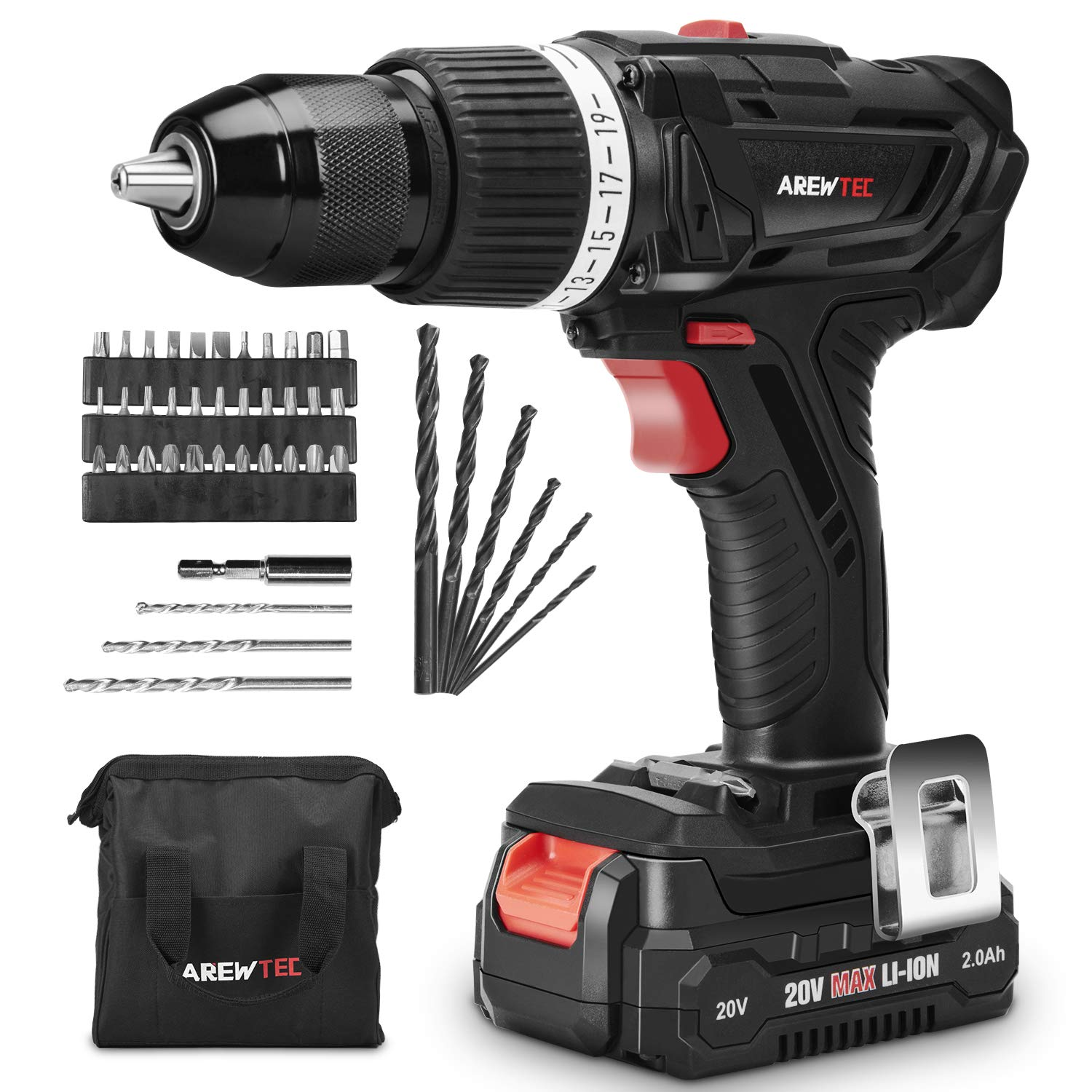 AREWTEC Cordless Hammer Drill, 20V Drill Driver Set 2.0Ah Lithium-Ion Battery 45NM 398 In-lbs with 2 Speed,1/2'' KEYLESS METALLIC CHUCK,19+2 Torque Adjustment,1 Hour Fast Charger,45 Accessories