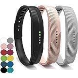 yefod Fitbit Flex Juego de 3correas de silicona de repuesto, para Fitbit Flex 2, color Black+Khaki+Gray