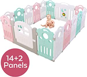 Baby Playpen Kids Activity Centre - Home Safety Fence Play Yard - Musical Playfence Indoor Outdoor Playard - Pen Lock Door Anti-Slip Base Guardrail - for Baby Toddler Boy Girl Children (16 Panels)