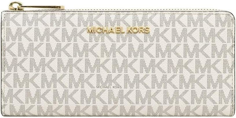 Michael Kors Women's Jet Set Travel Large Three Quarter Zip Wallet Vanilla Signature PVC
