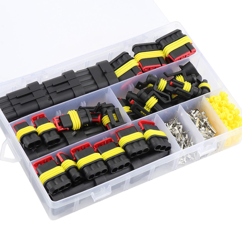 300 St/ück Boote Roller 1 2 3 4 Pin Terminals Stecker mit Automotive Flachsicherungen f/ür Motorrad Aussel Wasserdichter Auto-Elektrostecker LKW