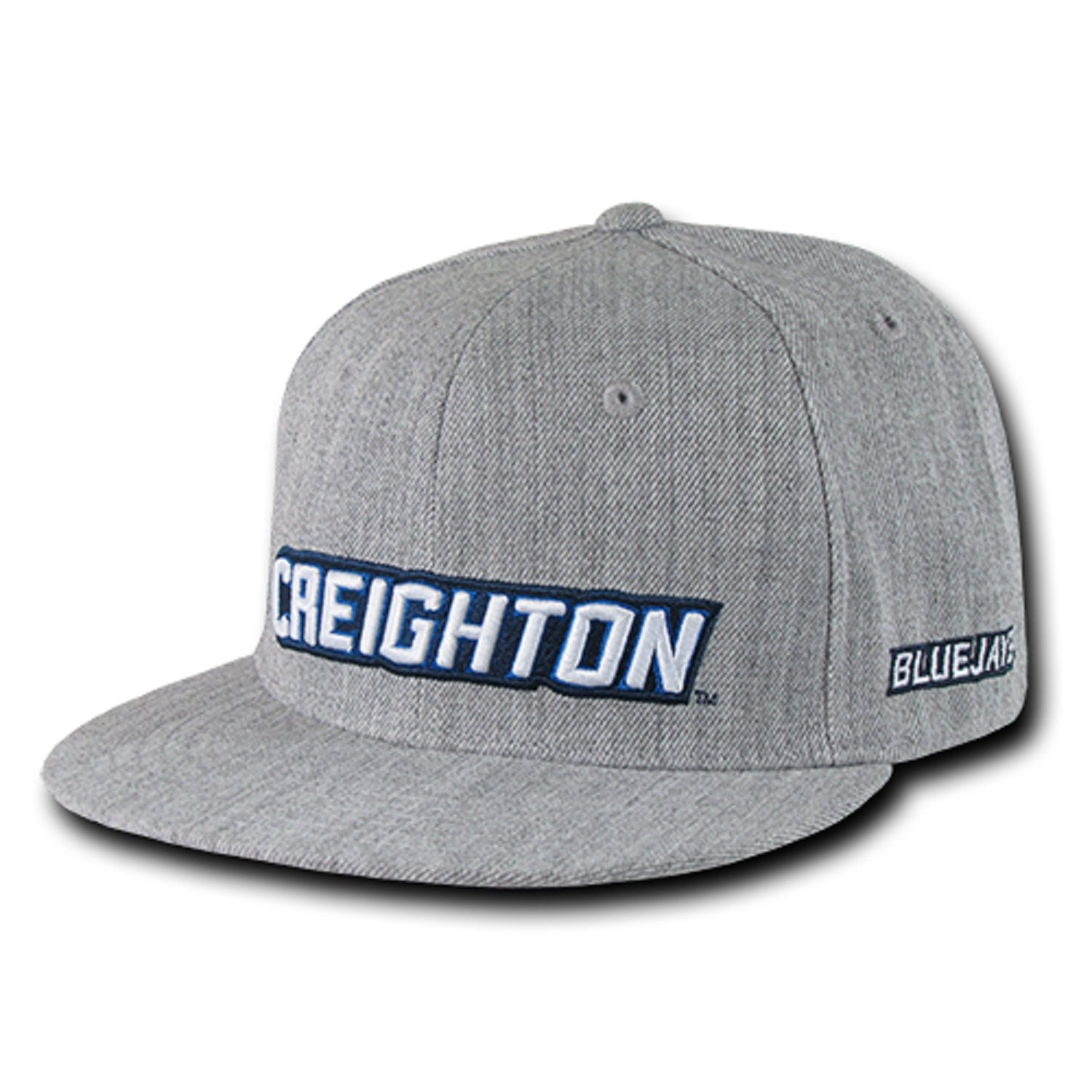 University of Creighton Bluejays NCAA Heather Gray Fitted Flat Bill Baseball Cap Hat Sizes Run Small