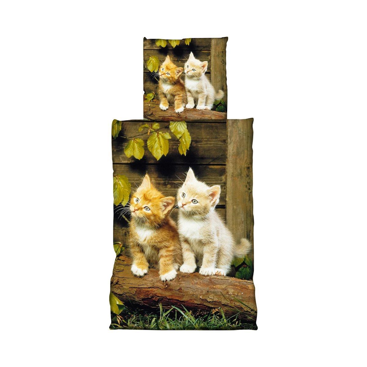 Parure de lit en microfibre 135x 200cm 2Pièces chat animaux naturel