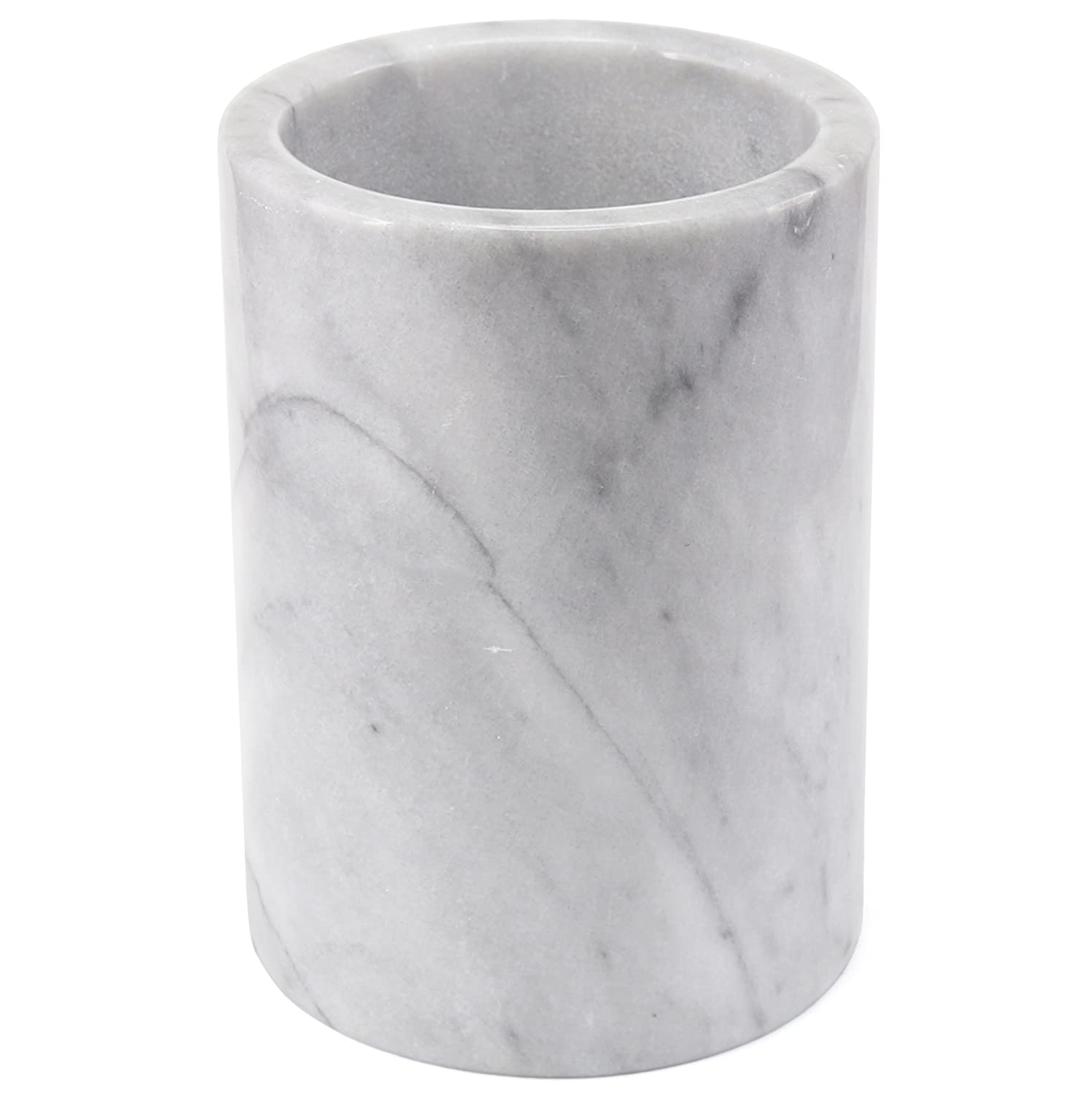 "Creative Home 84046 Natural Marble Tool Crock Utensil Holder 5"" Diam. x 7"" H White"