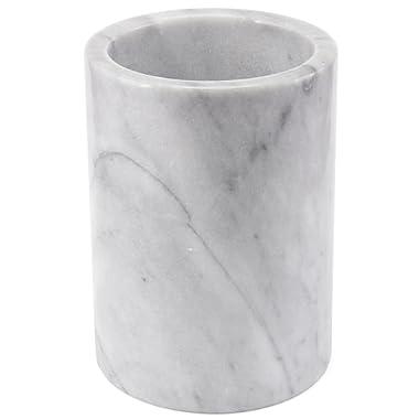 Creative Home 84046 Natural Marble Tool Crock Utensil Holder, 5  Diam. x 7  H, White