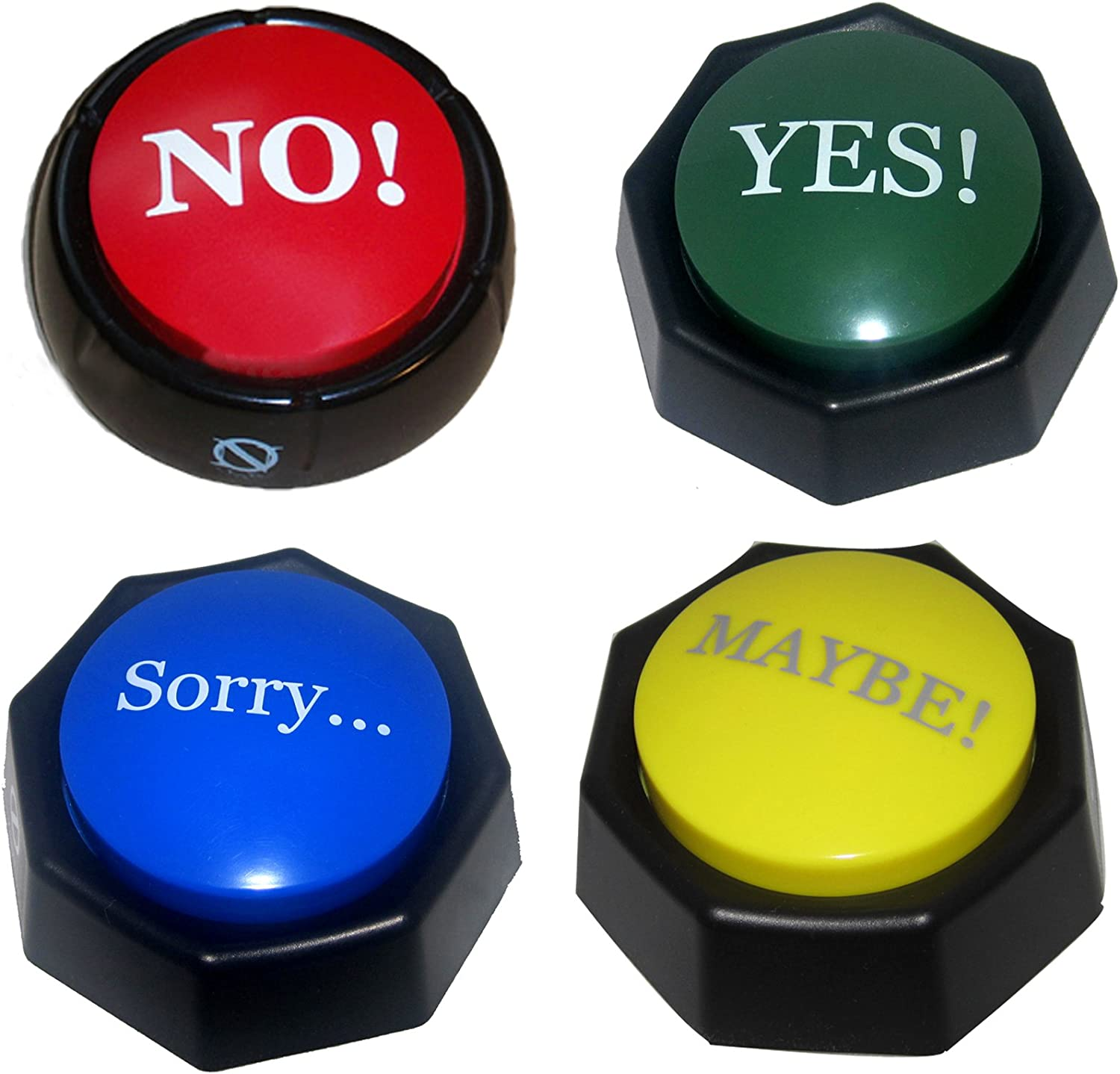Amazon.com: 4 Total Buttons! The NO, YES, SORRY and MAYBE Buttons ...