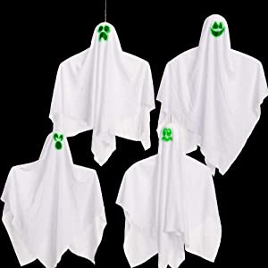 "27.5"" Halloween Hanging Ghosts Glow in the dark(4 Pack) for Halloween Party Decoration, Cute Flying Ghost for Front Yard Patio Lawn Garden Party Décor and Holiday Halloween Hanging Decorations"