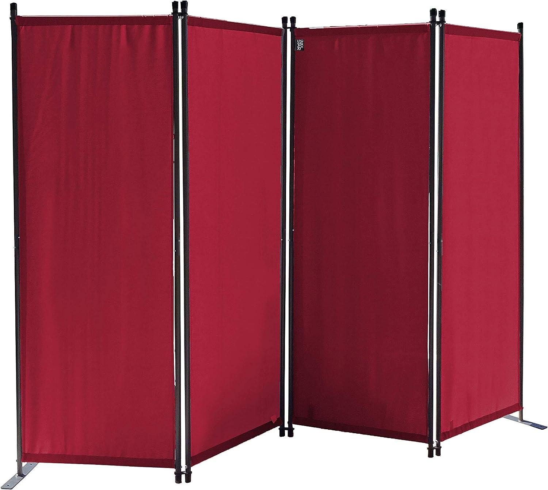 QUICK STAR Paravent 220 x 165 cm Tejido Divisor de habitación Jardín 4-Partición Pared de separación Plegable Balcón Pantalla de privacidad Rojo Rubí: Amazon.es: Jardín