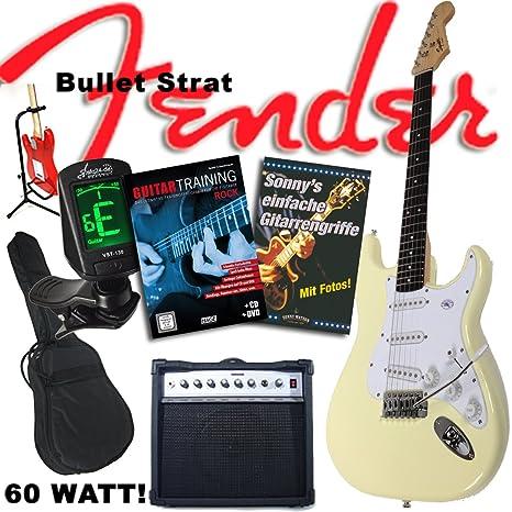 Fender Set de guitarra eléctrica con guitarra Squier Bullet Strat de color blanco, amplificador Sherwood