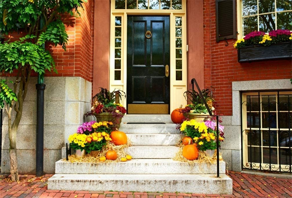 GoEoo 10x8ft Foor Door Fall Decoration Background Rustic Pumpkin Hay Flowers Photography Backdrop Autumn Harvest Photo Studio Props Thanksgiving Holiday Celebration Vinyl Banner