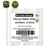 sacchetti per sottovuoto, 3 Rolls 15x500cm rotola Borsa in rilievo Commercial Grade for Food Saver Sous Vide e cucina, l'approvazione della FDA e BPA (3 Rotoli 15x500cm)