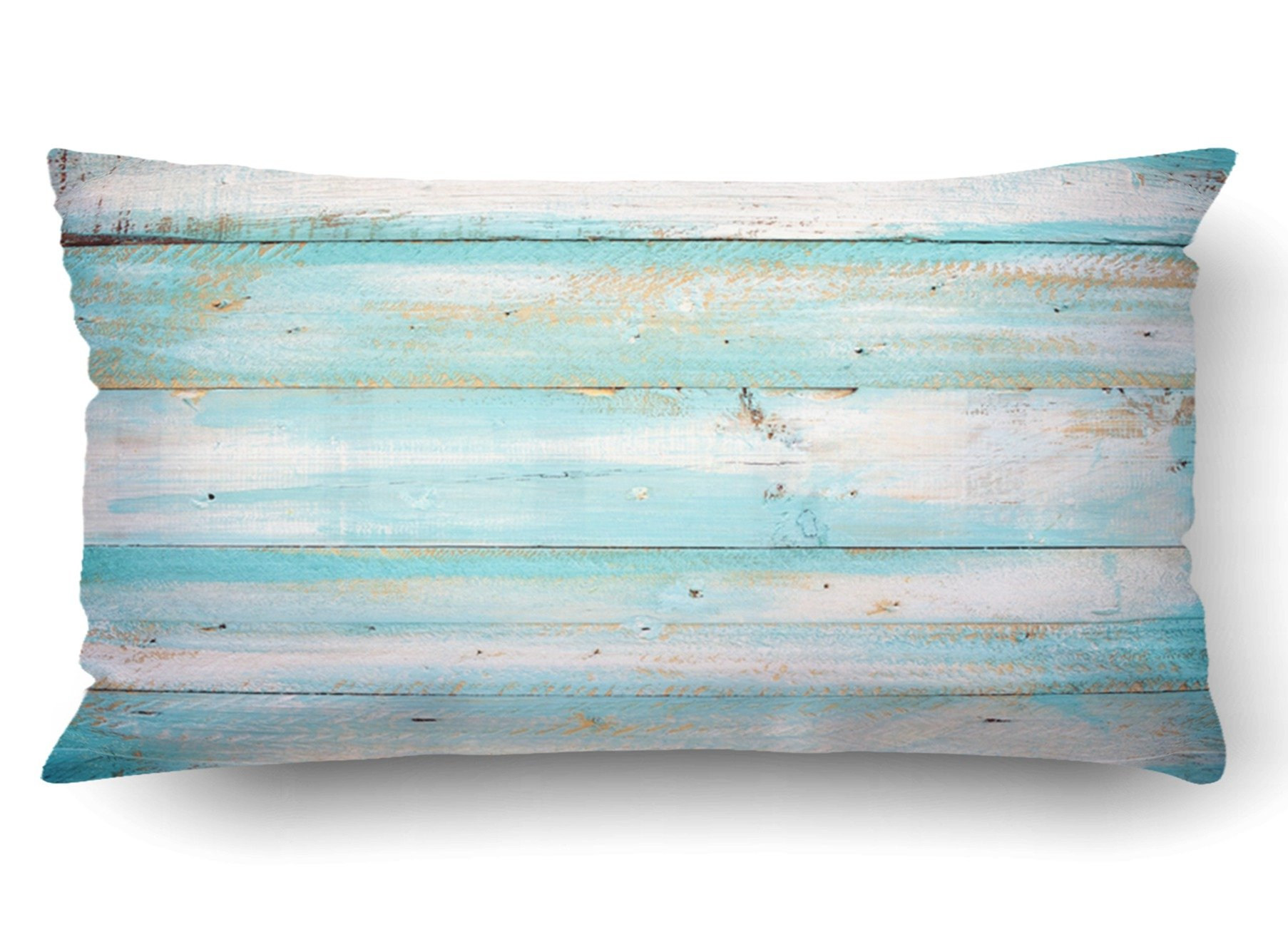 Emvency Pillow Covers Decorative Vintage Beach Wood Old Blue Color Wooden Plank Bulk With Zippered 20x36 King Pillow Case For Home Bed Couch Sofa Car One Sided